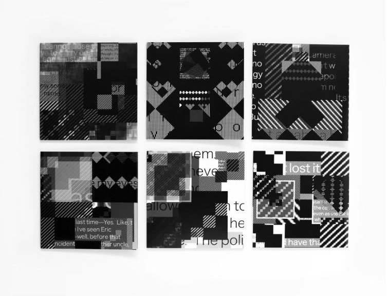 "Six ""Blackout"" panels are lined up with three on top and three on the bottom against a white background. All the panels are black and white with digitized textile samples over top of clips of text."