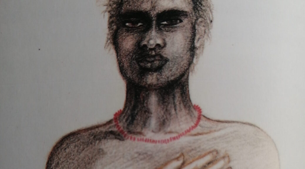 A coloured sketch of a bare-chested Indigenous man wearing a red necklace on white paper with a white man's arm wrapping around from behind to touch his chest.