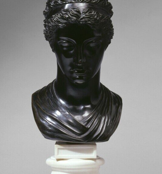 A bronze bust of Mary Berry